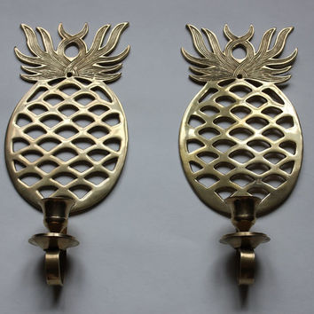 Brass Pineapple Sconces, Set of 2, Vintage Taper Votive Candle Holder Sconce, Made in India, Candles and Cups Not Included
