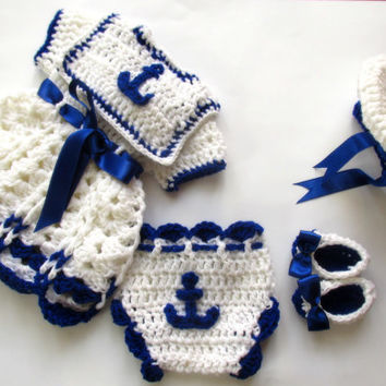 Sailor baby set Baby dress hat booties diaper cover infant clothes newborn outfit