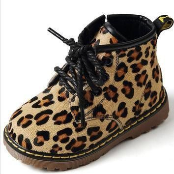 2016 Shoes Girls Boots Yeezy Shoes Winter Kids Boots Leopard Fashion Girls Children Sh