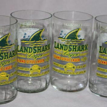 Land Shark Drinking Glasses, Recycled Beer Bottle, 8 oz. Drinking Glass, ONE glass