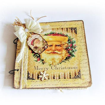 Vintage Christmas Fairy Tale Journal Wood Christmas Notebook Christmas Gift Shabby Chic Christmas Journal Winter Journal Santa Claus Album