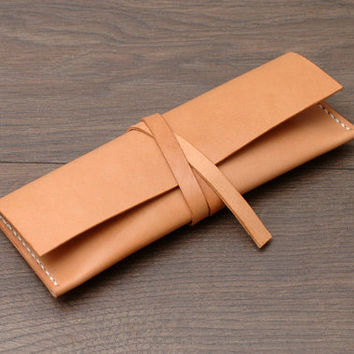 Minimal Rolling Pen / Pencil / Eyeglasses Case, Vegetable-tanned Leather, Hand-stitched, Natural