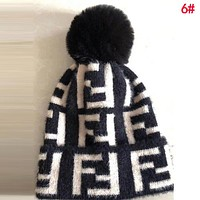 FENDI Winter Fashionable Couple Warmer FF Letter Jacquard Knit Hat Cap