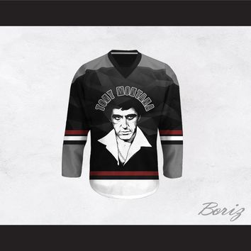 Tony Montana 00 Scarface Gray and Black Hockey Jersey