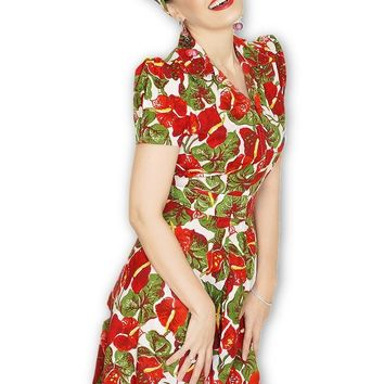 Swing Derby Dress in Anthurium Print