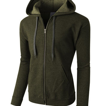 LE3NO PREMIUM Mens Vintage Soft Fleece Full Zip Up Hoodie Jacket