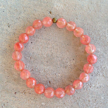 Love, Faceted Strawberry Quartz bracelet