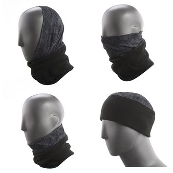 Topnaca Mens-Womens Fleece Neck Warmer Gaiter Face Mask Hood Snood Beanie Scarf Ski Hat, Multifunctional Headwear for Walking Cycle Snowboard Skiing Running Motorcycle Winter Sports (Black)