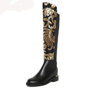 Gold Gladiator Knee-High Boots