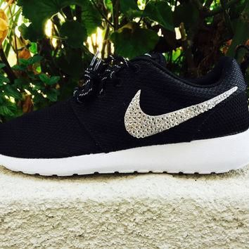 Custom Nike Roshe Swarovski Crystals, cute sneakers, Emerald Crystals, Clear crystal,