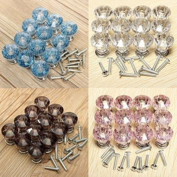 Diamond Shape Crystal Knobs Cabinet Knobs - Furniture - Drawer Knobs - 12 pcs