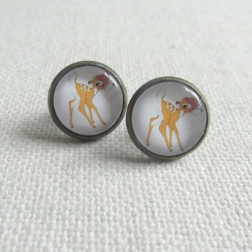 Bambi Stud Earrings, Bronze Ear Studs, Cute Kawaii Glass Cabochons
