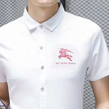 Burberry fashion casual man small logo printed button short-sleeved shirt