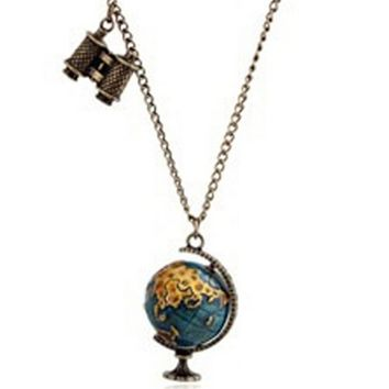 Vintage Globe Earth Telescope Necklace