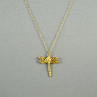 Dragonfly Necklace, 24K Gold Vermeil, 14K Gold Filled Chain, Modern, Simple, Cute, Everyday Wear Jewelry
