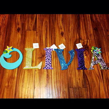 "Custom Character Photo Letters Hand painted any word or name 10"" Wooden Disney Princess Frozen Transformers Birthday Camouflage Mindcraft"