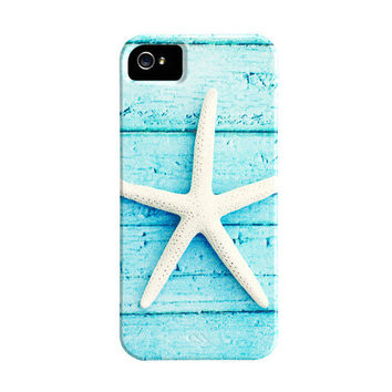 Starfish iPhone Case - star fish iphone 5 case - beach iphone 4s case - aqua blue white seashore - cute iphone 4 case - iphone 5 cover
