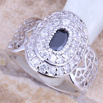 Jolly Black Onyx White CZ Silver Stamped 925 Women's Ring