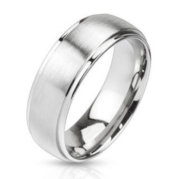 Steel In Love– Brushed silver stainless steel his and her dome ring with polished edges