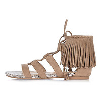 Brown fringed lace-up sandals - flat sandals - shoes / boots - women