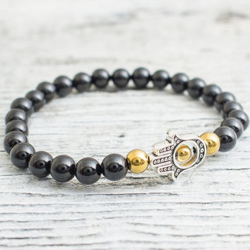 Black onyx beaded silver Hamsa hands stretchy bracelet with gold plated hematite beads, mens bracelet, womens bracelet