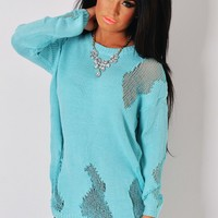 Marine Turquoise Sheer Patch Knit Jumper | Pink Boutique