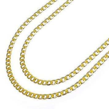 "Jewelry Kay style Men's 14K Yellow Gold Plated 6 mm Cuban Double Chain Necklace 22""+26"" 2pc Set"