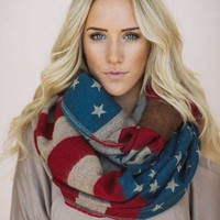 Woven Stars & Stripes Flag Infinity Scarf