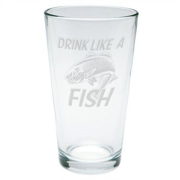 LMFCY8 Drink Like A Fish Redfish Red Drum Etched Pint Glass