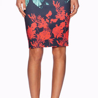 Dark Blue Floral Print Pencil Skirt