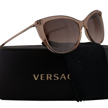 Versace VE4345-B Sunglasses Transparent Light Brown w/Brown Gradient Lens 57mm 521513 VE4345B VE 4345B VE 4345-B