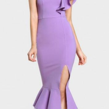 Light Purple Ruffle Slit Asymmetric Shoulder Backless Homecoming Midi Dress