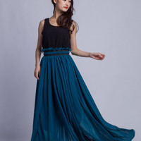 High Waist Wedding Skirt Chiffon Long Skirts Beautiful Elastic Waist Summer Skirt Floor Length Beach Skirt (201) 14#