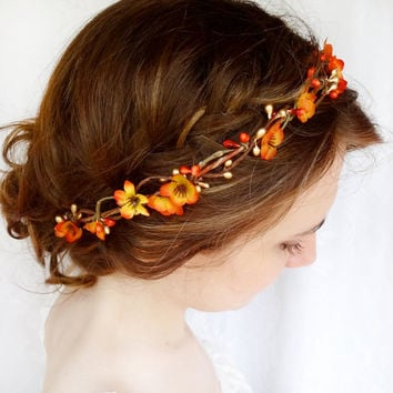 fall hair accessories, bridal hair circlet, autumn flower, burnt orange wedding - FOLKLORIC - flower girl head wreath