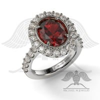 AVA – OVAL RUBY OR GARNET HALO ENGAGEMENT RING, CUSTOMMADE ***MADE TO ORDER*** – 074