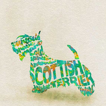 Scottish Terrier Typographic Watercolor Painting, Scottie Dog Art Print, Scottish Terrier Memorial Wall Art, Creative Dog Portrait