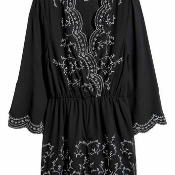 Jumpsuit with embroidery - Black - Ladies | H&M GB
