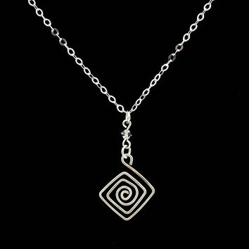 Sterling Silver Women's Necklace with Handcrafted Greek Key, Greek Necklace, Gift for HER, Greek Jewelry, Pendant, Sterling Silver Jewelry
