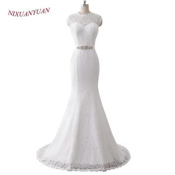 NIXUANYUAN 2018 New Simple O Neck Cap Sleeves White Ivory Lace Wedding Dress 2017 Mermaid Bridal Gown vestido De noiva With Sash