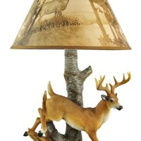 10 Point Buck Table Lamp W/ Forest Print Shade Deer