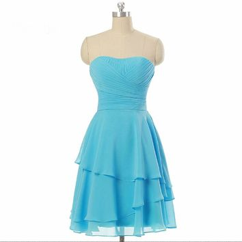Mini short Bridesmaid Dresses pleated chiffon Bridesmaid Dresses