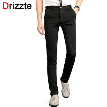 Men Stretch Black Dress Pants Blue Red Pocket Side Design Slim Fit Slacks Pants Mens