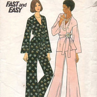 Butterick 70s Sewing Pattern Wrap Top V Neckline Long Sleeves Blouse Shirt Wide Leg Flared Pants Casual Fashion Disco Retro Style Bust 32