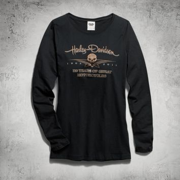 Women's 110th Long-Sleeve Skull Tee | Tees | Official Harley-Davidson Online Store