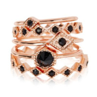 Full Bloom Ring Set - Rose Gold