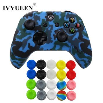 IVYUEEN 21 in 1 for XBox One X S Slim Controller Water Transfer Print Silicone Protector Skin Case Cover with Stick Grips Cap