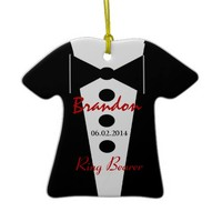 Ring Bearer Wedding Favor Custom Name Tux Christmas Tree Ornaments