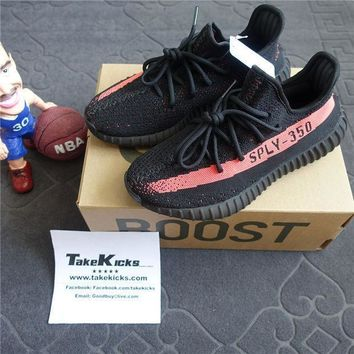 DCCK5 Original Adidas YEEZY Boost 350 V2 'Red Stripe' Core Black Red sply BY9612
