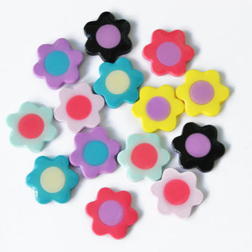 Cute little colorful flower studs - polymer clay earrings