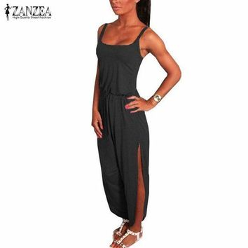 PEAPGC3 ZANZEA 2017 Summer Rompers Womens Jumpsuit Sexy Spaghetti Strap Sleeveless Split Overalls Long Playsuit Plus Size S-4XL